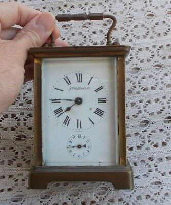 "Vintage Brass 5"" Carriage Shelf Alarm Clock JE Caldwell 11 Jewels CH Hour France"