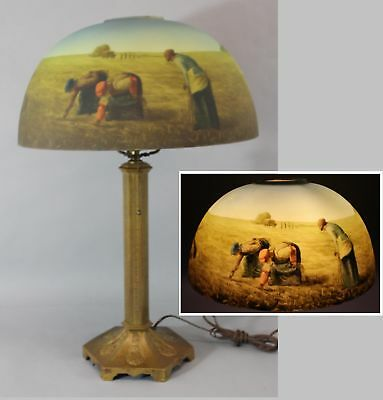Antique Table Lamp, Reverse Painting Shade Jean-Franois Millet, The Gleaners NR