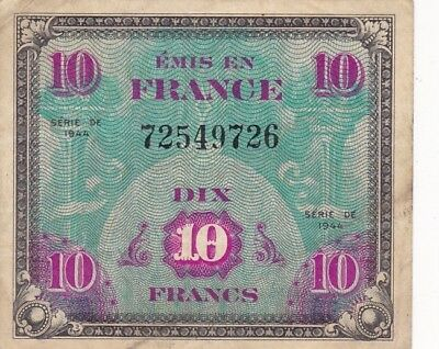 1944 France 10 Francs Allied Military Currency Note, Pick 116