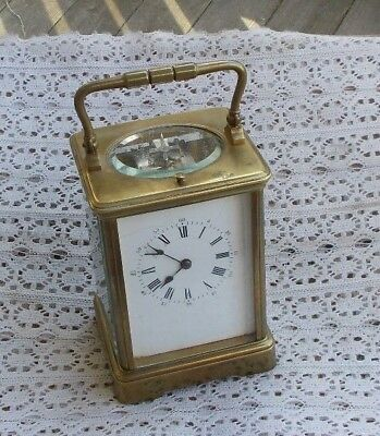 "Vintage 7"" Brass Carriage Shelf Clock Wind Up L'Epee France Repeater Strike LOOK"