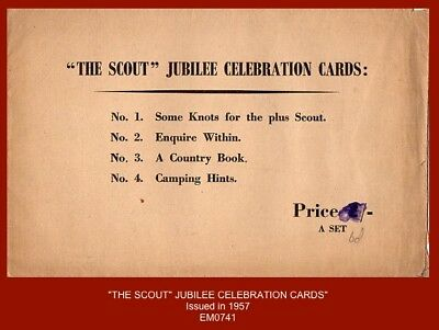 "1957 ""The Scout Jubilee Celebration Cards"" - Set x4 in official envelope"