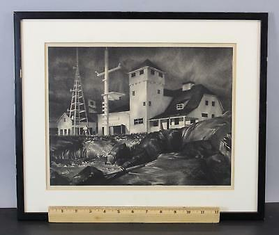 Antque Signed STOW WENGENROTH Lithograph Print, Rockport MA Coast Guard House