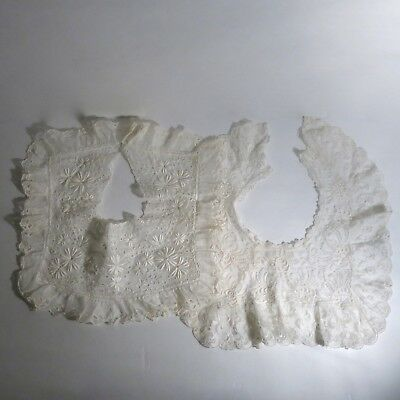 Two Vintage Antique Lace Collars White