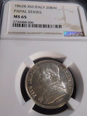 INV #W14 Italy Papal States 1868-R XVI 20 Baiocchi NGC MS-65
