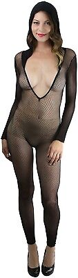 7bc86b93a7 FOOTLESS HOODED FISHNET Crotchless Bodystocking - Music Legs 1088 ...
