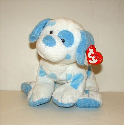 NWT Ty Pluffies Baby Pups blue white spotted dog plush velour puppy baby lovey