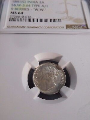 INV #W34 India British 1841(C) 2 Anna S&W-3.64 Type A/1 9 Berries NGC MS-64