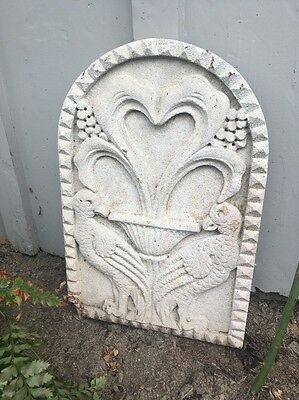 Old French Carved Lime Stone Wall Plaque Garden Sculpture Birds Antique