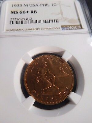 INV #W39 Philippines 1933-M Centavo NGC MS-66+ Red Brown
