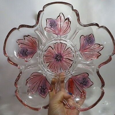 Relish Dish Pinks Floral Heavy Glass Beautiful