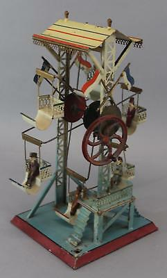 RARE Antique DOLL ET CIE German Painted Tin Steam Engine Toy, FERRIS WHEEL