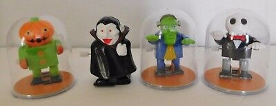 4 Halloween Wind Up Toys Frankenstein Dracula Skeleton Pumpkin