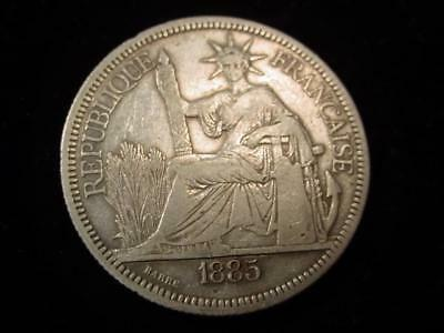 NobleSpirit - NO Reserve (SS) French Indo China 1885 1 Piastre SILVER CH VF/XF!