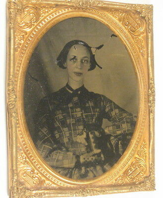 1/4 Plate ambrotype - Haunting Woman - Thin and very ill ?, Concave Glass Cover
