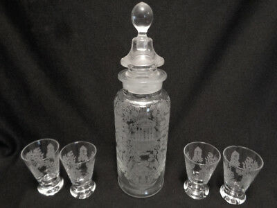 Paden  City   1930's  Rare  Cocktail Shaker And  4   Glasses- Gazebo