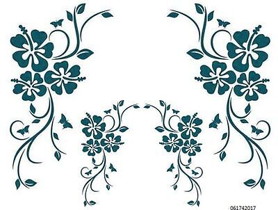 XL TeaL HiBisCuS CoRNeRs  ShaBby WaTerSLiDe DeCALs