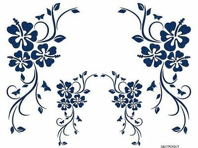 XL BLuE HiBisCuS CoRNeRs ShaBby WaTerSLiDe DeCALs