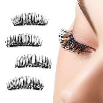 4pcs 3D Makeup Cross Thick Magnetic False Eyelashes Eye Lashes Nautral Handmade