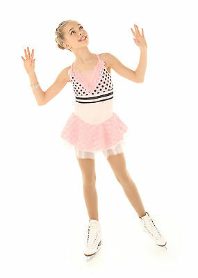 New Competition Skating Dress Elite Xpression  Pink Polka Dots  AS Small