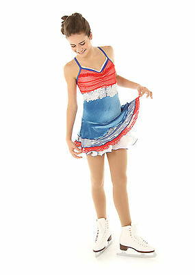 New Competition Skating Dress Elite Xpression 1303 Blue White Adult Small AS
