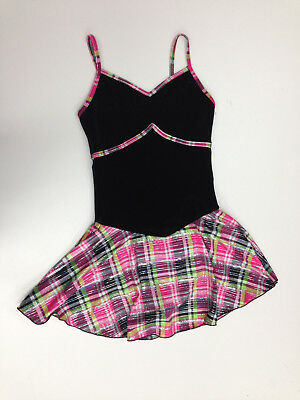 New Figure Skating Competition Dress Elite Xpression Black And Pink Child 10-12
