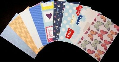 "COLOURFUL PATTERNED Scrapbooking/Cardmaking Papers x 10 ~15cm x 10cm (6"" x 4"")"
