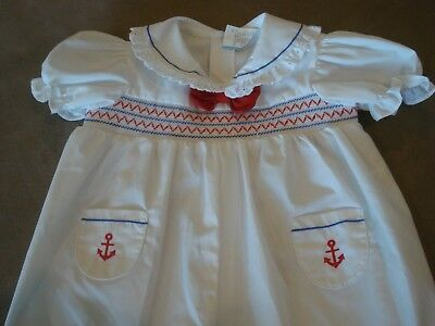 Vintage Infant Girl White One Piece Outfit Red Blue Smocking Anchors Size 6-9 Mo