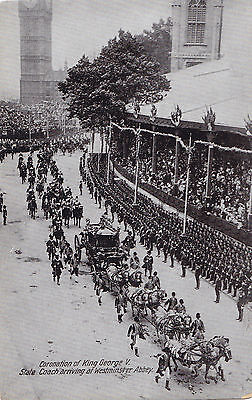 Coach Arriving at Westminster Abbey KING GEORGE V Coronation 1911 Valentine PC