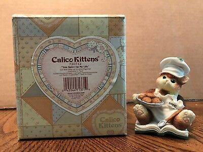"Enesco Calico Kittens ""You Spice Up My Life"" Cat With Plate of Cookies  720712"