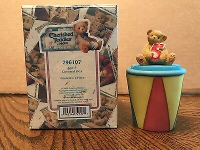Enesco Cherished Teddies Birthday Age 5 Covered Box  796107