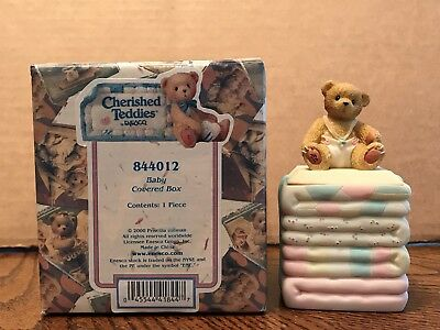 Enesco Cherished Teddies Birthday Baby Covered Box  844012
