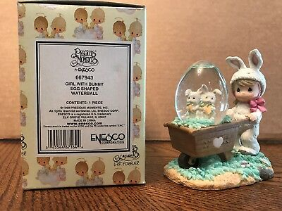 Enesco Precious Moments Girl With Bunny Egg Shaped Waterball  667943