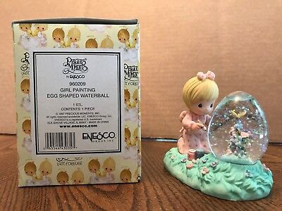 Enesco Precious Moments Girl Painting Egg Shaped Waterball  960209