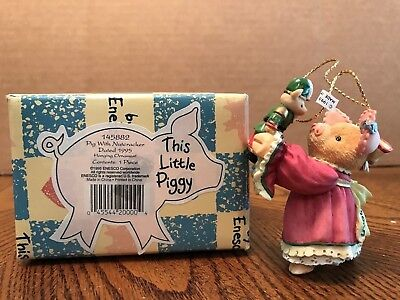 "Enesco This Little Piggy ""Pig With Nutcracker"" Dated 1995 Ornament  145882"