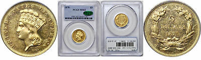 1870 $3 Gold Coin PCGS MS-62 CAC