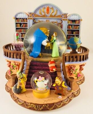 RARE! Disney THERE'S SOMETHING THERE Library Beauty & Beast Musical Snowglobe