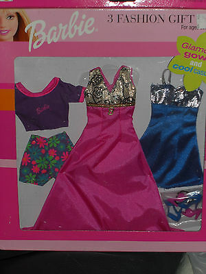 1999 Barbie Glamour Gown And Cool Casuals 3 Fashion Gift Pack Set #68585-87