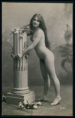 French full nude long hair brunette woman original early c1900s photo postcard
