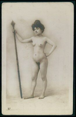 French full nude woman with Moliere stick original early c1900s photo postcard