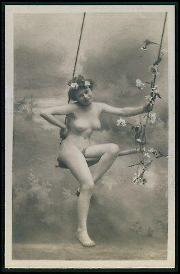 French full nude woman on swing flower hairdo original early 1900 photo postcard