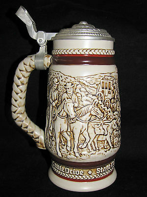 AVON Vintage BEER STEIN 1980 Western Round-Up Cowboys Horses Cattle Stage Coach