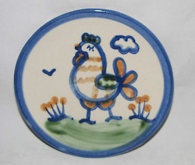 M A HADLEY Small ROOSTER Stoneware PLATE Pottery Bread and Butter