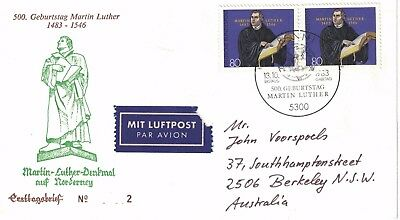 West German First Day Cover 500Th Birthday Martin Luther Cancelled 13 Oct 1983