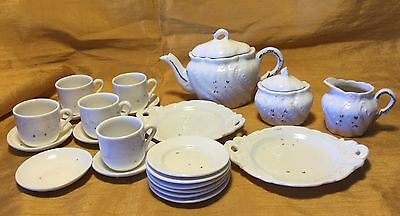 Vtg 24 Pc Embossed Child's Toy Dish Tea Set w Handle Platters/Teapot/Cup Saucer