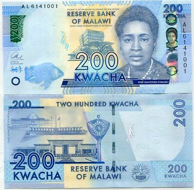 Malawi 200 Kwacha 2016 P New Blind Feature Unc Nr