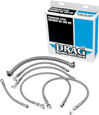 Drag Specialties Braided Oil Line Kit For Harley Stainless Steel 0711-0035