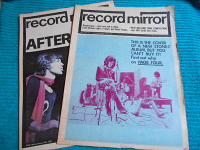 'RECORD MIRROR' x2 1969/70 ROLLING STONES MICK JAGGER COLOUR FRONT PAGE PICS