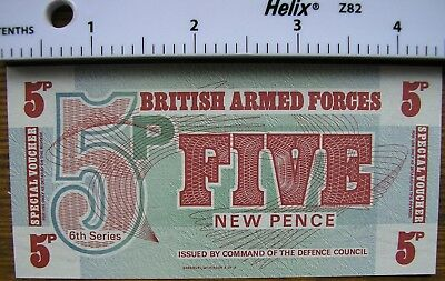British Armed Forces Five New Pence note 6th Series