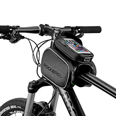 ROCKBROS Cycling Bike Frame Tube Bag Rainproof Touch Screen For 6.2'' Phone