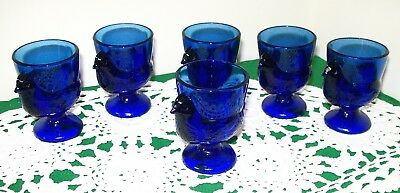 French COBALT BLUE GLASS  (1980's) EGG CUPS ~ Set of Six ~ Excellent Condition.